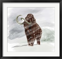 Framed Mammuthus Primigenius walking through a Blizzard