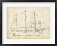 Sailboat Blueprint II Framed Print