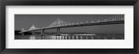 Framed Bay Bridge at dusk, San Francisco, California BW