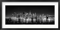 Framed Illuminated  Manhattan Skyline, New York City