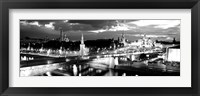 Framed City lit up at night, Red Square, Kremlin, Moscow, Russia BW