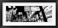 Framed Commercial signboards lit up at night in a market, Shinjuku Ward, Tokyo, Japan