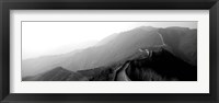 Framed High angle view of the Great Wall Of China, Mutianyu, China BW