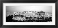 Framed High angle view of buildings in a city, Acropolis, Athens, Greece BW