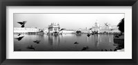 Framed Reflection of Golden Temple, Amritsar, Punjab, India (black & white)