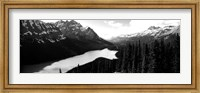 Framed Mountain range at the lakeside, Banff National Park, Alberta, Canada BW