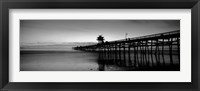 Framed Silhouette of a pier, San Clemente Pier, Los Angeles County, California BW
