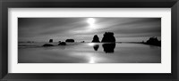 Framed Silhouette of sea stacks at sunset, Second Beach, Olympic National Park, Washington State