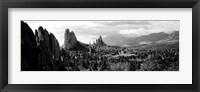 Framed Garden of The Gods, Colorado Springs, Colorado (black & white)