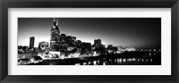 Framed Skylines at night along Cumberland River, Nashville, Tennessee