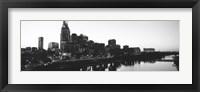 Framed Skylines at dusk along Cumberland River, Nashville, Tennessee