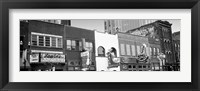 Framed Neon signs on buildings, Nashville, Tennessee BW
