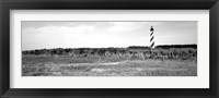 Framed Lighthouse on the coast, Cape Hatteras Lighthouse, Outer Banks, North Carolina