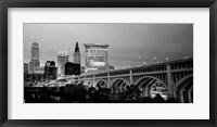 Framed Bridge in a city lit up at dusk, Detroit Avenue Bridge, Cleveland, Ohio