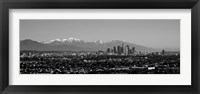 Framed High angle view of a city, Los Angeles, California BW