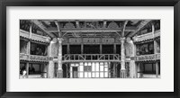 Framed Interiors of a stage theater, Globe Theatre, London, England BW