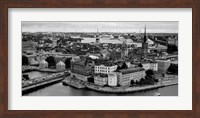 Framed High angle view of a city, Stockholm, Sweden BW