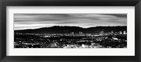 Framed High angle view of a city at dusk, Culver City, Santa Monica Mountains, California