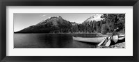 Framed Canoe in lake in front of mountains, Leigh Lake, Rockchuck Peak, Teton Range, Wyoming