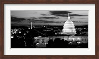 Framed High angle view of a city lit up at dusk, Washington DC