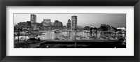 Framed Inner Harbor, Baltimore, Maryland BW