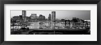 Framed Inner Harbor, Baltimore, Maryland BW