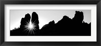 Framed Silhouette of cliffs at Arches National Park, Grand County, Utah