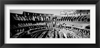 Framed High angle view of tourists in an amphitheater, Colosseum, Rome, Italy BW