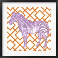 Framed Bright Menagerie Zebra