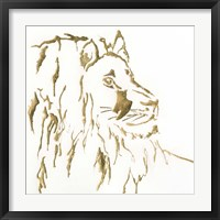 Framed Gilded Lion
