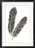 Gold Feathers IV on White Framed Print