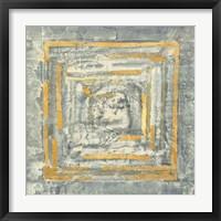 Framed Gold Tapestry I Gold and White