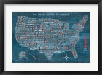 Framed US City Map on Wood Blue