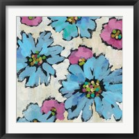 Graphic Pink and Blue Floral II Framed Print