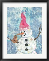 Framed Snowman with Owl