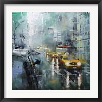 New York Rain Framed Print
