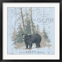Framed Bear's World Gray (square)