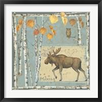 Moose (blue background) Framed Print