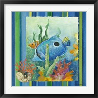Framed Tropical Fish IV (striped background)