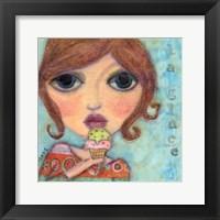 Framed Big Eyed Girl Ice Cream Cone