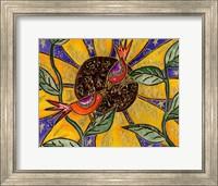 Framed Birdies And Sunflower