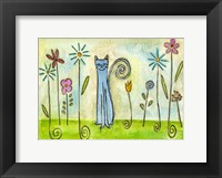 Framed Blue Cat In The Flower Garden