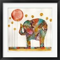 Framed Elephant In Sunflower Field