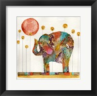 Framed Elephant In Sunflower Field