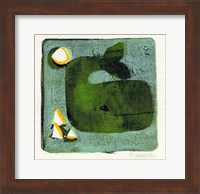 Framed Green Whale Monoprint
