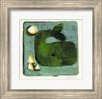 Framed Green Whale Monoprint