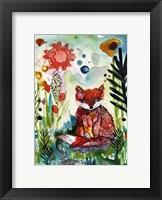 Framed Baby Fox in the Garden