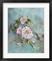 Framed Hummingbird with Camellias