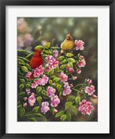 Framed Cardinals with Roses