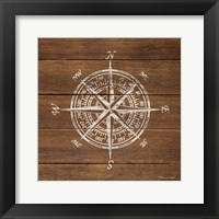 Framed Compass On Wood